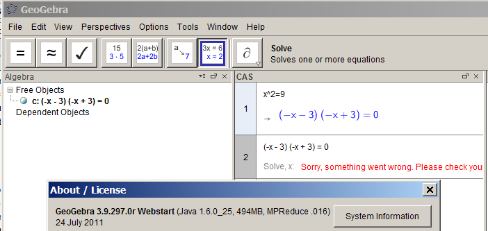 CAS in 4 0 equation solver