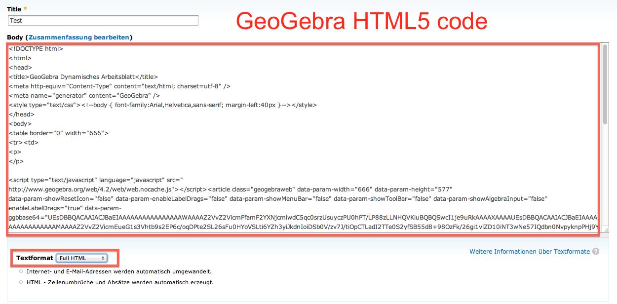 Geogebra-HTML5 code in CMS (Drupal)