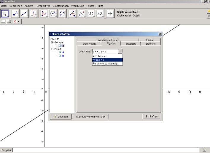 Darstellung von Geraden in der Form y = mx+t