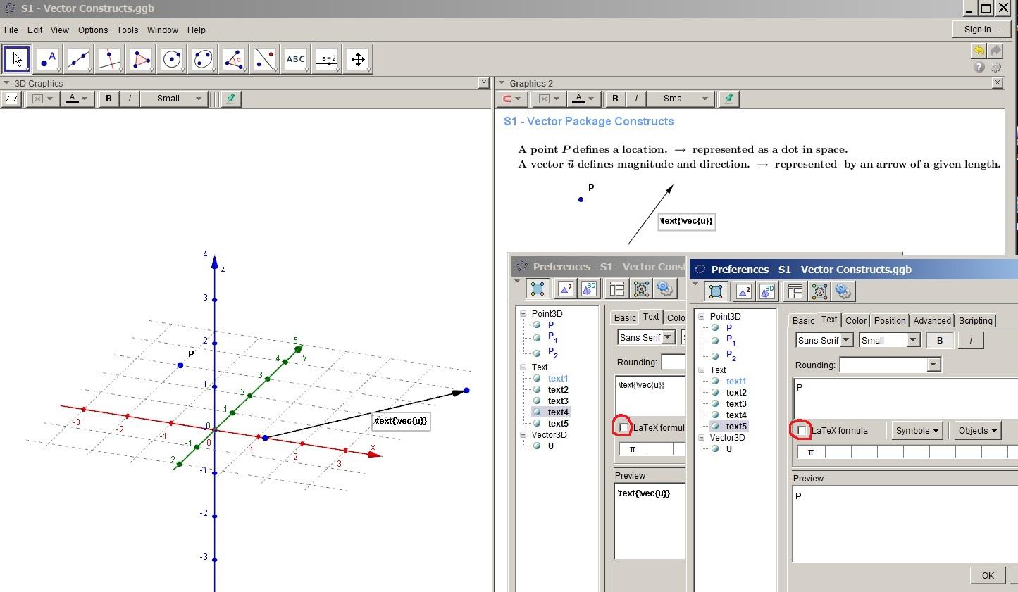 GeoGebra 4.9.274.0-JOGL2 will not display Latex in 3D